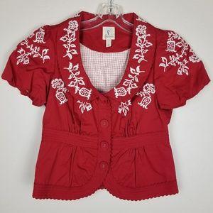 Anthropologie Red & White Short Sleeve Jacket s/ 2